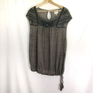 NWT Knox Rose Tie Bottom Embroidered Knit Top L